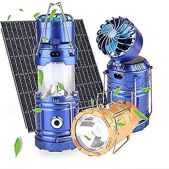 Para 3 em 1 Tenda de Camping Solar Lanterna de ventilador USB Lanterna Recarregável Lanterna Portátil Lâmpada portátil WS37672