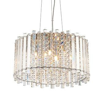 Endon Collection  Hanna Five Light Pendant In Chrome And Clear Crystal Glass