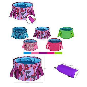Purple 14l oxford cloth 14l portable folding basin outdoor camping portable bucket homi4362