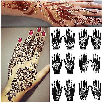 2 Sheets hand tattoo decal henna stencil temporary