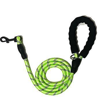 5FT koiran lyijy köysi talutushihna suuret johdot Nailon Pehmustettu pehmeä kävelevä heijastava punosta (vihreä)