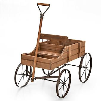 Wood Wagon Flower Planter Decorative Pot Stand with Wheels & 2 Planting Section