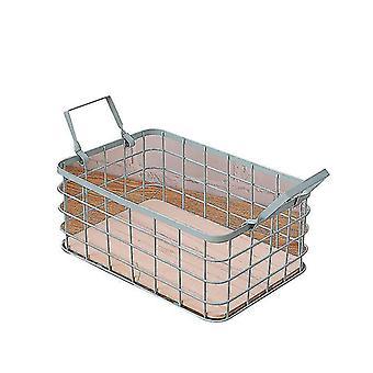 Household Stackable Metal Wire Storage Organizer Bin Basket With Handles(Blue)