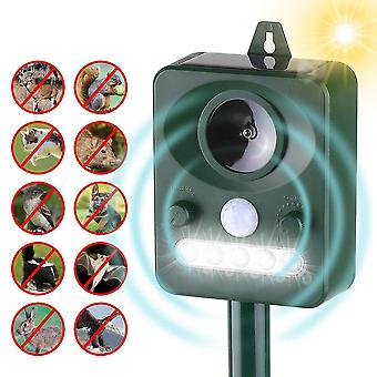 Solar Ultrasonic Pest Repeller Outdoor Animal With Sound Motion Sensor And Flashing Light