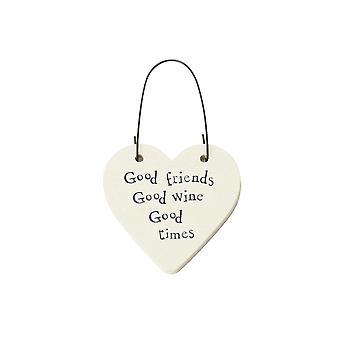 Good Friends, Good Wine, Good Times Mini Wooden Hanging Heart - Cracker Filler Gift