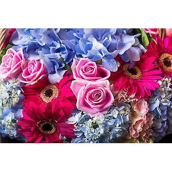 Mural de papel de parede Flores Doces Coloridas