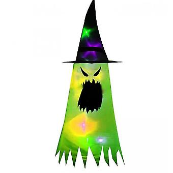 Halloween Decorations Witch Hat,  Hanging Lighted Glowing Witch Hat Decorations(Green)