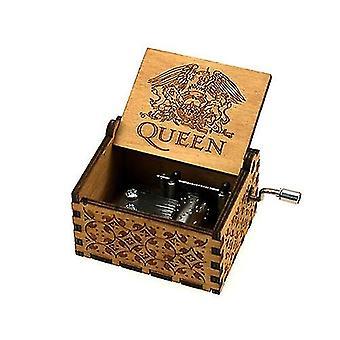 Queen Grabado 18 Tonos-mano Manivela Caja de Música de Madera