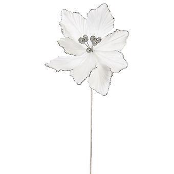 53cm White Velvet och Glitter Magnolia Stem för floristry hantverk