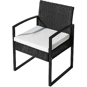 Set 3 Piece Patio Rattan Garden Furniture Sofa Set With 2 Armchairs And 1 Table