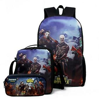 Fortnite Backpack Stationery Bagthree-piece Student Bag Gift