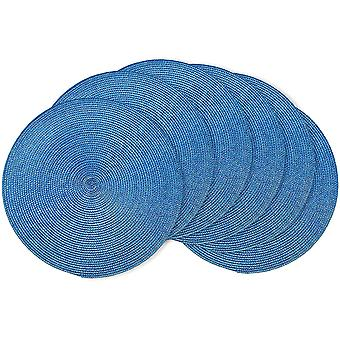 Round Braided Placemats 15 Inch Round Table Mats For Dining Tables Woven Heat Resistant Place Mats Set Of 6 (sky Blue)