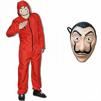 Salvador Dali La Casa Costume Money Heist Jumpsuit+ Facepiece Cosplay Costume