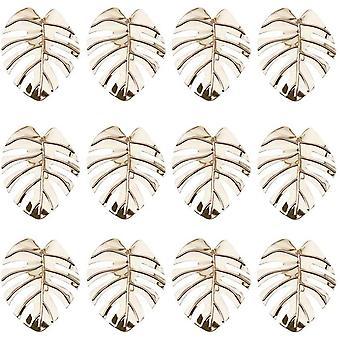 Turtle Leaf Serviette Rings, table Decor Napkin Holder (12pcs Rose Rouge)