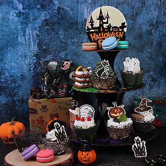 3 Tier Halloween Cupcake Stand Holder Cardboard Round Dessert Cake Stand