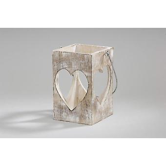 Coeur en bois brun blanc lanterne bougeoir avec poignée