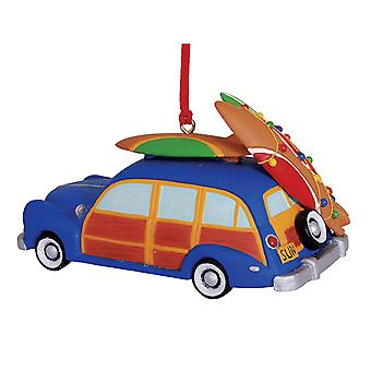 Woody Beach Car with Decorated Surfboards Holiday Christmas Ornament