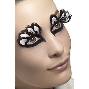 Wimpern künstliche Augenwimpern braun weiß Federn