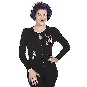 Banned - black flamingo - womens  - long sleeve cardigan
