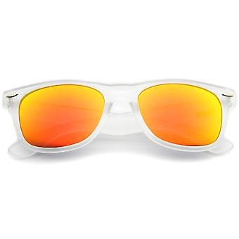 Matte Frosted Frame Reflective Colored Mirror Lens Horn Rimmed Sunglasses 54mm