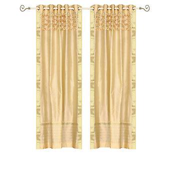 Goldene Hand Crafted Tülle Top schiere Sari Vorhang Panel - Stück