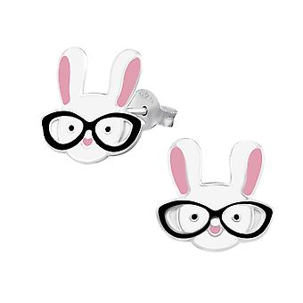 Rabbit - 925 Sterling Silver Colourful Ear Studs - W31982X