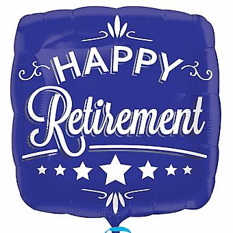 Anagram 18 Inch Happy Retirement Square Blue Foil Balloon