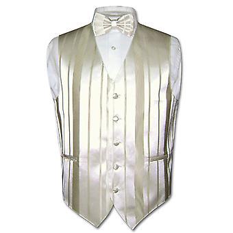 男士礼服背心 & BOWTIE 编织条纹设计蝴蝶结套