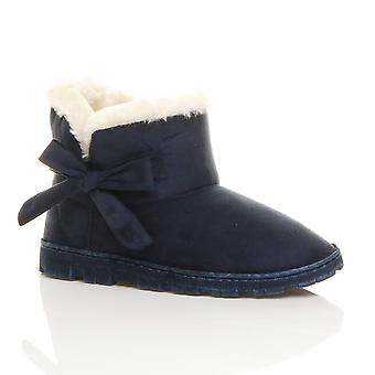 Ajvani womens piatto prua tirare su pantofole accogliente montone pelliccia foderata caviglia Stivali stivaletti