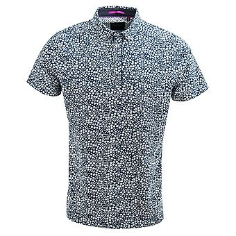 Guide London Navy Smart Small Flower Print Cotton Polo