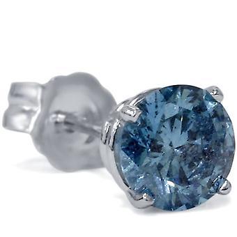 1/5ct Blue Diamond Single Stud 10K White Gold