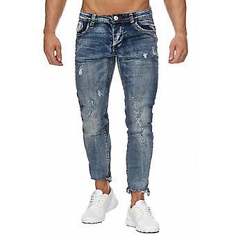 Men Ankle Jeans Destroyed 7/8 Pants Used Wash Cropped Design Regular Fit Trouser