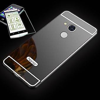 Miroir / miroir aluminium pare-chocs 2pcs noir + 0,3 mm verre trempé de H9 pour Huawei honor 6 a