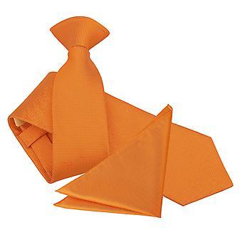 Celosia Orange Solid Check Clip On Slim Tie & Pocket Square Set