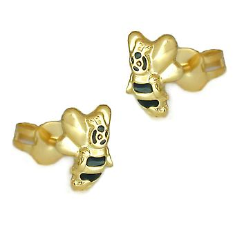 Earrings gold 375 children's jewellery earrings gold children plug, bee 9 KT GOLD