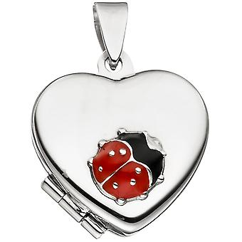 Trailers children Locket heart with ladybugs 925 rhodium plated to open 2 photos