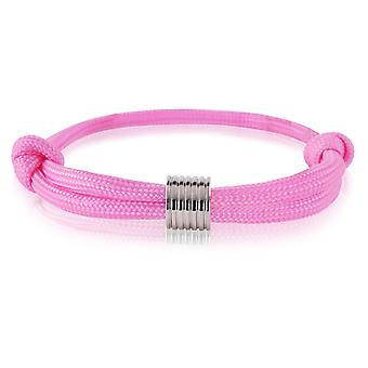 Schipper armband surfer band mark knooppunten armband roze met zilveren hangertje 7370