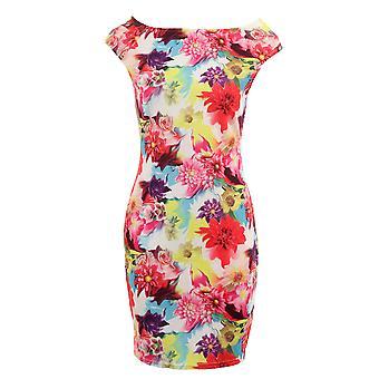 Ladies ärmellos Multi Color Floral Print Strecken Bodycon Damen kurzes Kleid