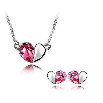 Pink Designer Love Heart Crystal Jewellery Necklace Bracelet and Earrings Set