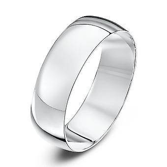 Star Wedding Rings 9ct White Gold Light D Shape 6mm Wedding Ring