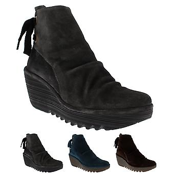 Womens Fly London Yama Oil Suede Platform Ankle Boot Wedge Heel Mid Heels