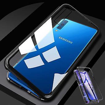 Samsung Galaxy A7 A750F 2018 Magnet / metalli / lasi tapauksessa puskurin läpinäkyvä Musta laukku case uusi