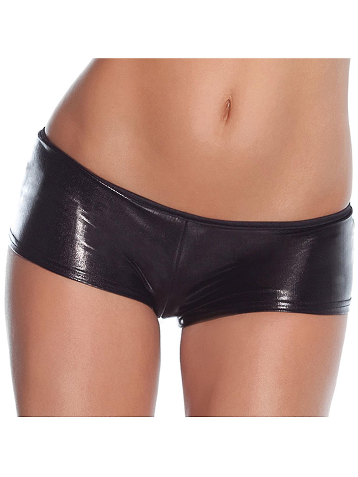 Coquette Women's Sexy Mini Shorts in Wetlook Black Kinky Stretchy Fabric