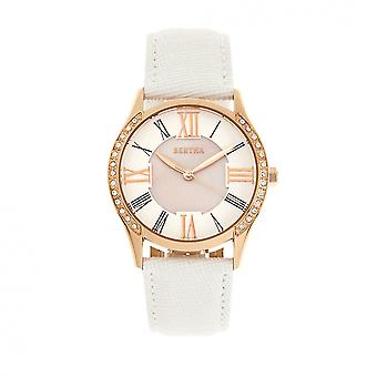 Bertha Sadie Mother-of-Pearl Leather-Band Watch - White
