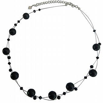 مجوهرات كريستال جت مجموعة سواروفسكي حقيقية قلادة بأسعار معقولة عقيق الزجاج الخرز عائم، مجموعة نيكلاسيك