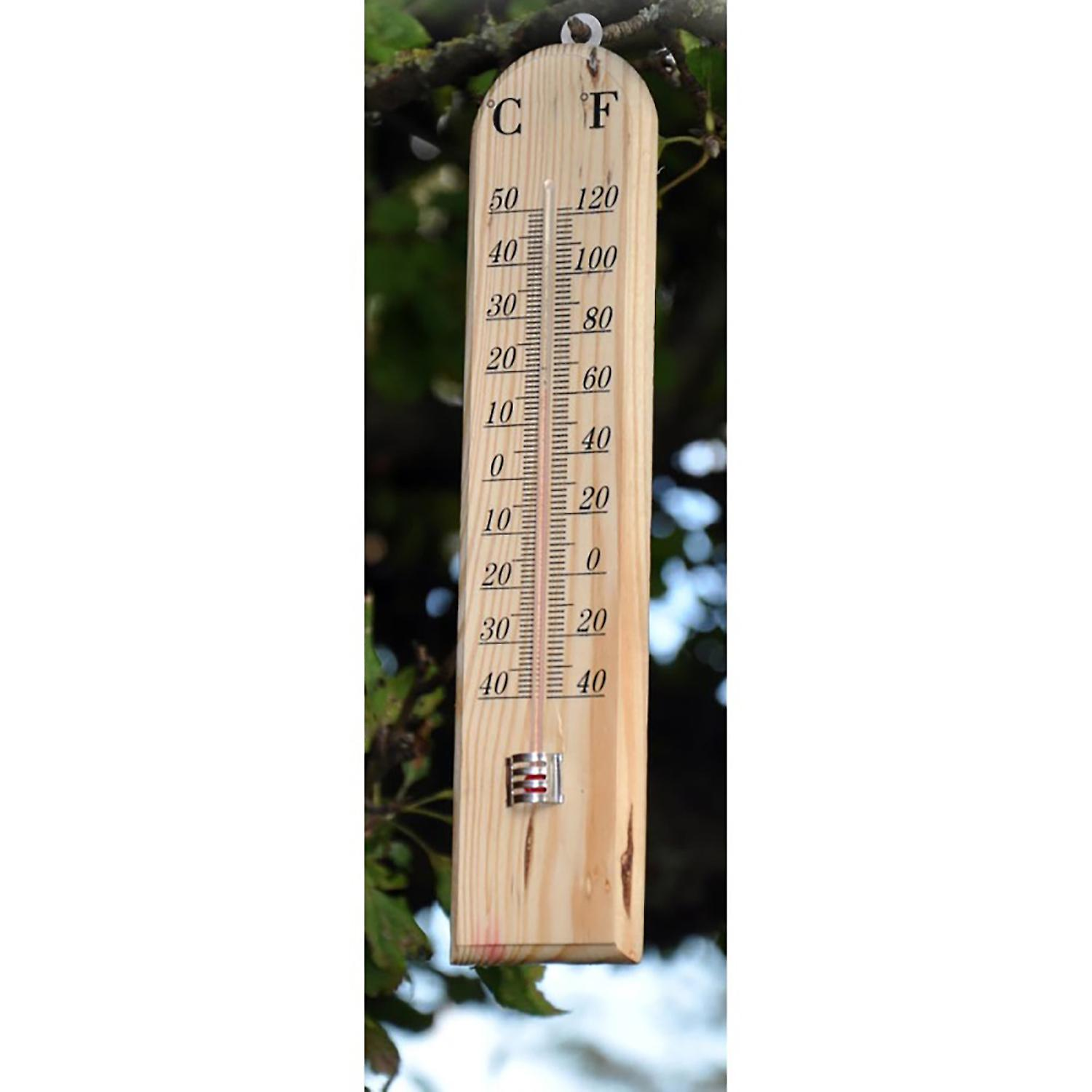 Shedmates GSTH02 Traditional Outdoor Wooden Wood Garden Thermometer with °C Celsius/ °F Fahrenheit display