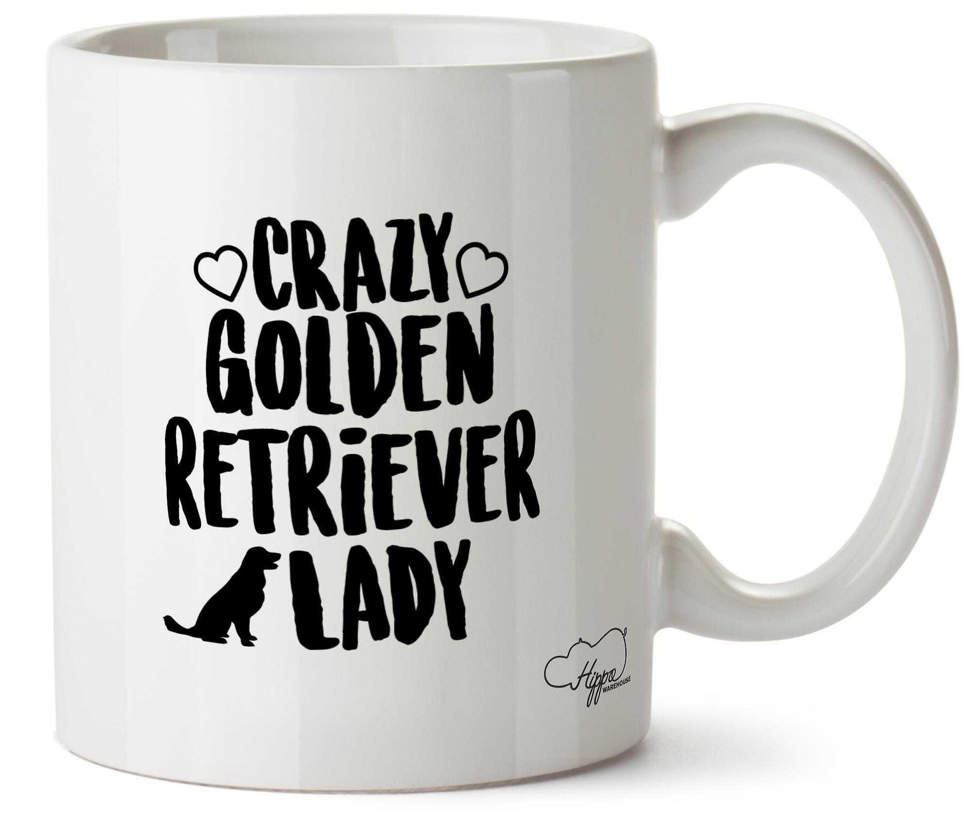 Hippowarehouse Crazy собака Золотой ретривер леди напечатаны Кубка керамическая кружка 10oz