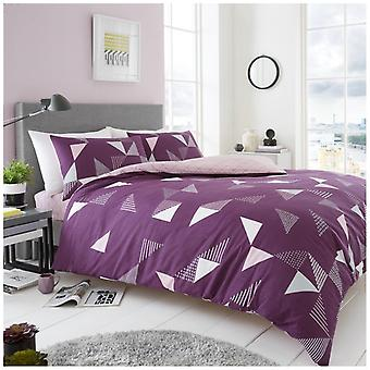 Marco Triangle Duvet Quilt Cover Reversible Bedding Set With Pillow Case