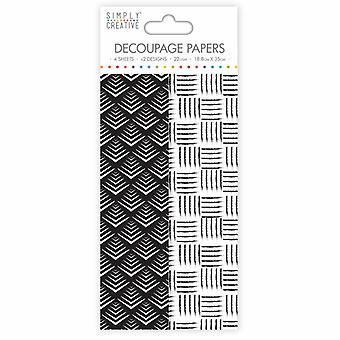 Simply Creative FSC Decoupage Papers - Monochrome