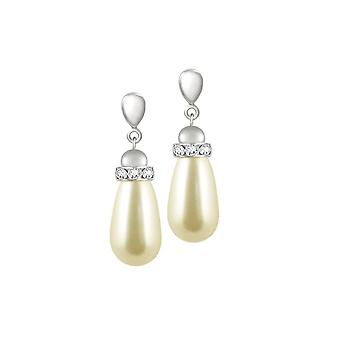 Eeuwige collectie Beaumont crème glas parel Teardrop zilveren Toon Drop Clip op oorbellen
